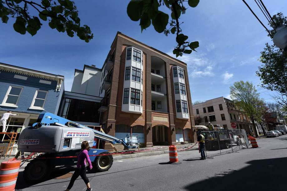 A nine-unit mixed use Spencer Condominiums are being built by Bonacio Construction at 55 Phila St. on Thursday, May 4, 2017, in Saratoga Springs, N.Y. The Saratoga Spring's City Council is debating a change in city building codes that would require the creation of affordable housing in any new condominium and co-op buildings constructed in the city. (Will Waldron/Times Union) Photo: Will Waldron
