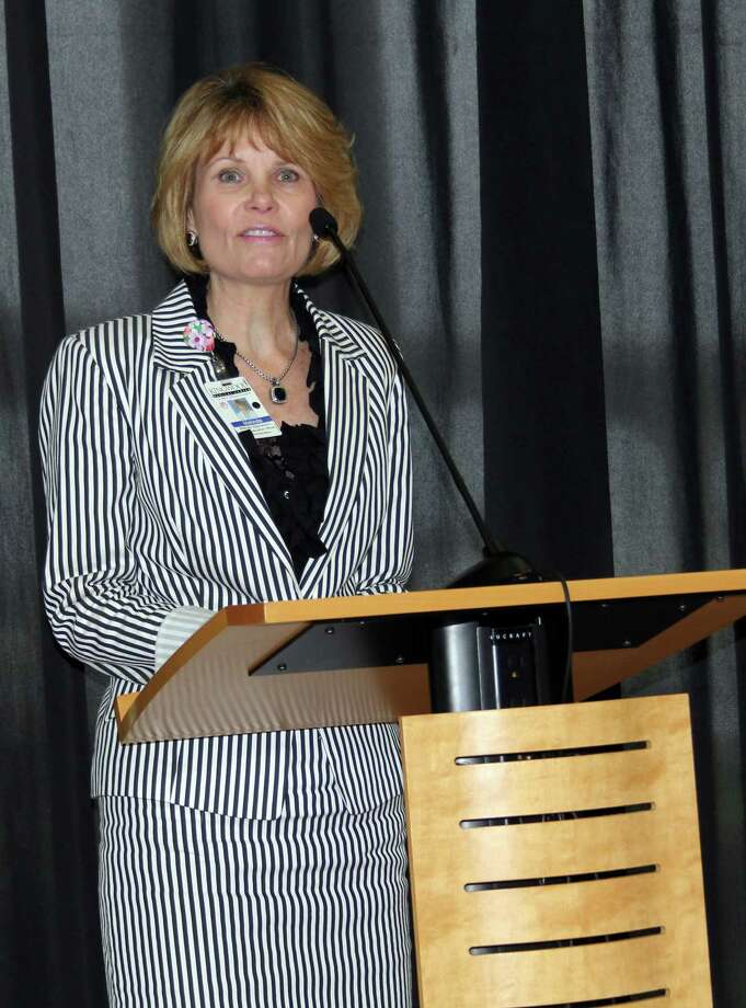 Melinda Stephenson, CEO of Kingwood Medical Center, discusses how the hospital is expanding its healthcare capabilities to offer local residents the best treatments close to home. Stephenson was the guest speaker at the May 3 luncheon of the Greater East Montgomery County Chamber of Commerce. Photo: Vanesa Brashier