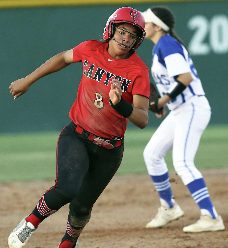 Aliyah Pritchett rounds second base in the early innings for New Braunfels Canyon against MacArthur in a Class 6A second round softball playoff game on May 5, 2017. Photo: Tom Reel /San Antonio Express-News / 2017 SAN ANTONIO EXPRESS-NEWS