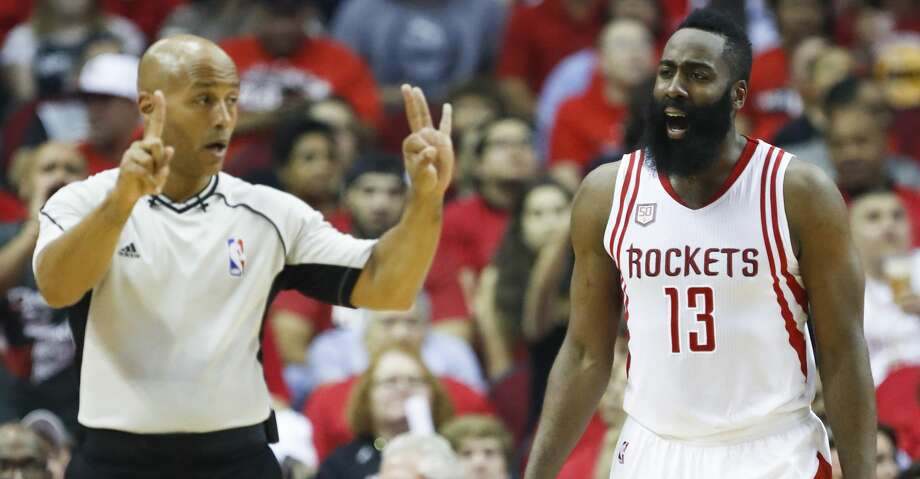 Houston Rockets guard James Harden (13) is upset when the referee calls him foul during the first half of the NBA Western Conference semifinals playoff Game 3 at Toyota Center Friday, May 5, 2017, in Houston. ( Karen Warren / Houston Chronicle ) Photo: Karen Warren/Houston Chronicle
