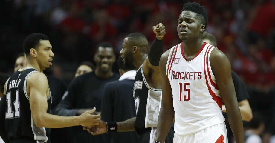 Houston Rockets center Clint Capela (15) reacts as the San Antonio Spurs bench celebrates during a time out in the second half of Game 3 of the second round of the Western Conference NBA playoffs at the Toyota Center, Thursday, May 4, 2017, in Houston. ( Karen Warren / Houston Chronicle ) Photo: Karen Warren/Houston Chronicle