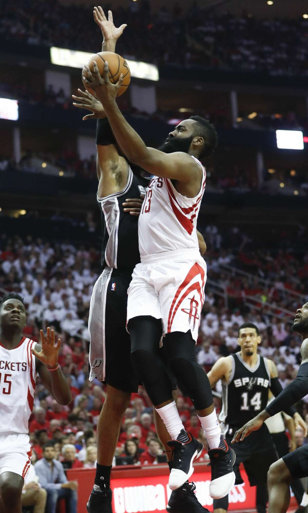 Houston Rockets guard James Harden (13) goes for the basket during the second half of the NBA Western Conference semifinals playoff Game 3 at Toyota Center Friday, May 5, 2017, in Houston. ( Karen Warren / Houston Chronicle )
