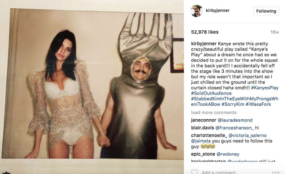 The Instagram user Kirby Jenner photoshops himself into Kendall Jenner's photos. Photo: Kirbyjenner/Instagram