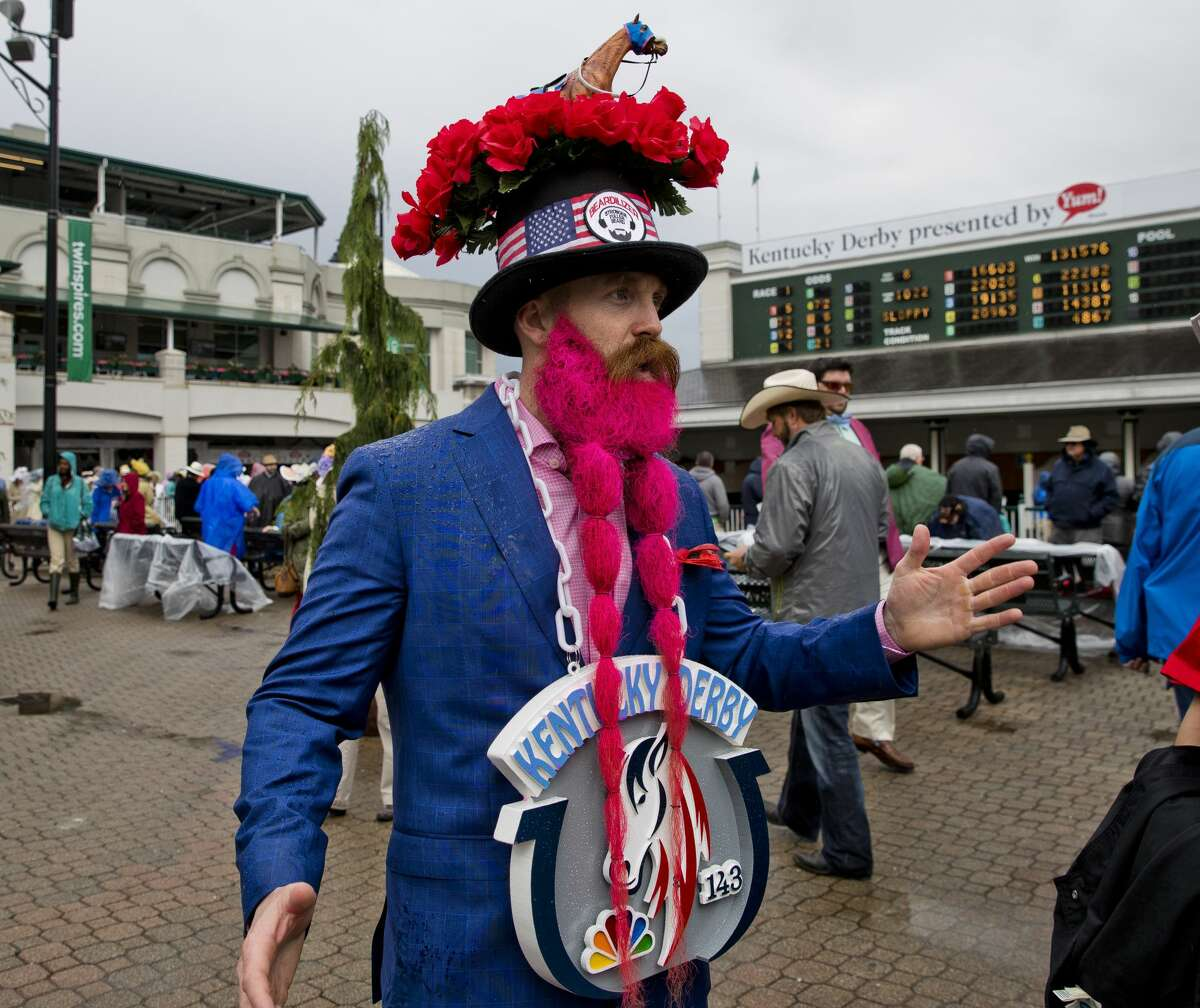 A man sports a hat and beard on Kentucky Derby Day at Churchill Downs on May 6, 2017 in Louisville, Kentucky.