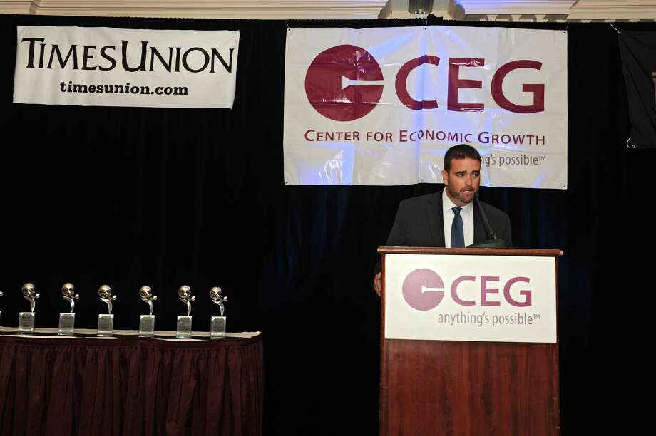 Andrew Kennedy, president and CEO of Center for Economic Growth, speaks during the CEG's annual awards luncheon at the Desmond Hotel on Thursday, June 23, 2016 in Colonie, N.Y. (Lori Van Buren / Times Union) Photo: Lori Van Buren / 40037106A