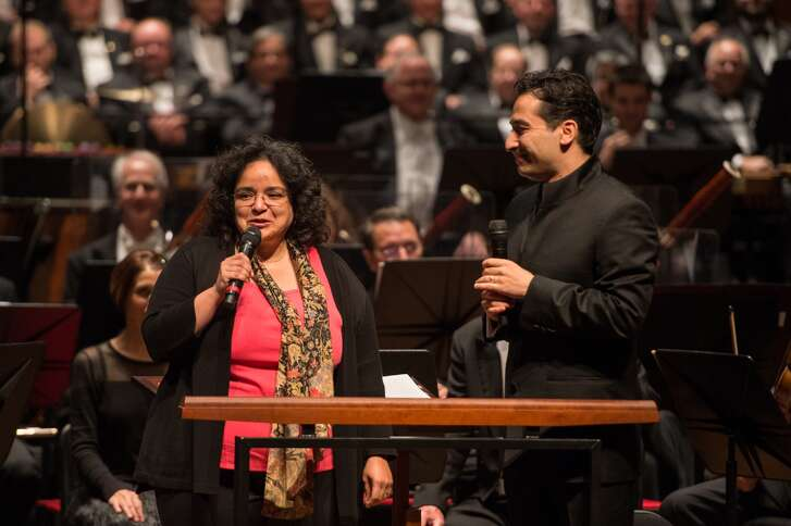 "Gabriela Lena Frank, left, with Andrés Orozco-Estrada on May 5 during Houston Symphony's premiere performance of Frank's ""Conquest Requiem."""