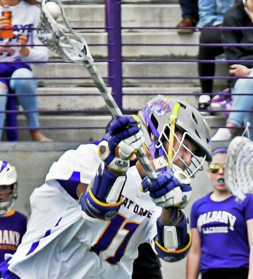 UAlbany's #11 Justin Reh scores against Binghamton during their America East championship game Saturday May 6, 2017 in Albany, NY.  (John Carl D'Annibale / Times Union) Photo: John Carl D'Annibale / 20040424A