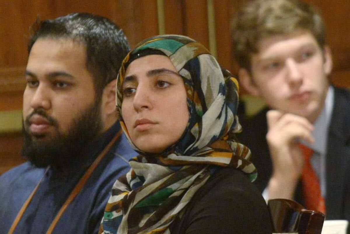 Guests listen to the keynote address as The Connecticut Chapter of the Council of Islamic Relations (CAIR-CT) hosts Khizr Khan, Gold Star father and constitutional rights advocate, for a special afternoon lunch and fundraiser Saturday, May 6, 2017, at the Norwalk Inn and Conference Center in Norwalk, Conn. Khan is the father of Capt. Humayun Khan, who was killed in a suicide attack near Baqubah, Iraq. With his wife, Ghazala Khan, Mr. Khan stood at the podium at the Democrat Party National Convention and delivered a speech condemning U.S. presidential candidate Donald Trump's statements on Muslims.
