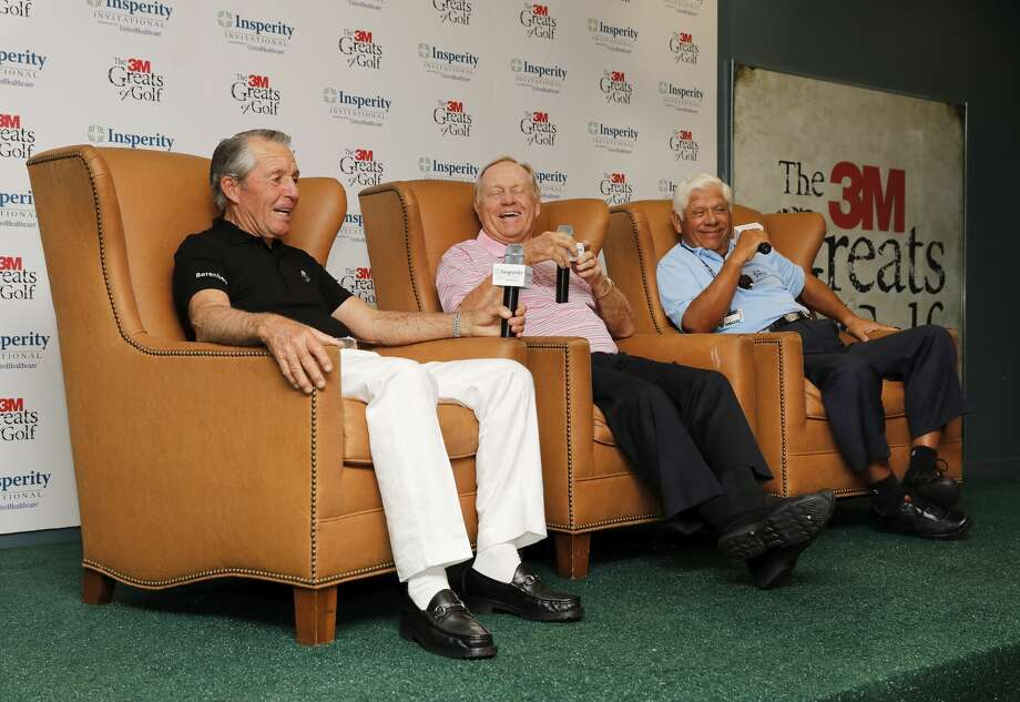 Gary Player, Jack Nicklaus, and Lee Trevino (left to right) are interviewed before the 3M Greats of Golf at the Woodlands Country Club Tournament Course on Saturday, May 6, 2017, in The Woodlands, TX. Photo: Tim Warner/For The Chronicle