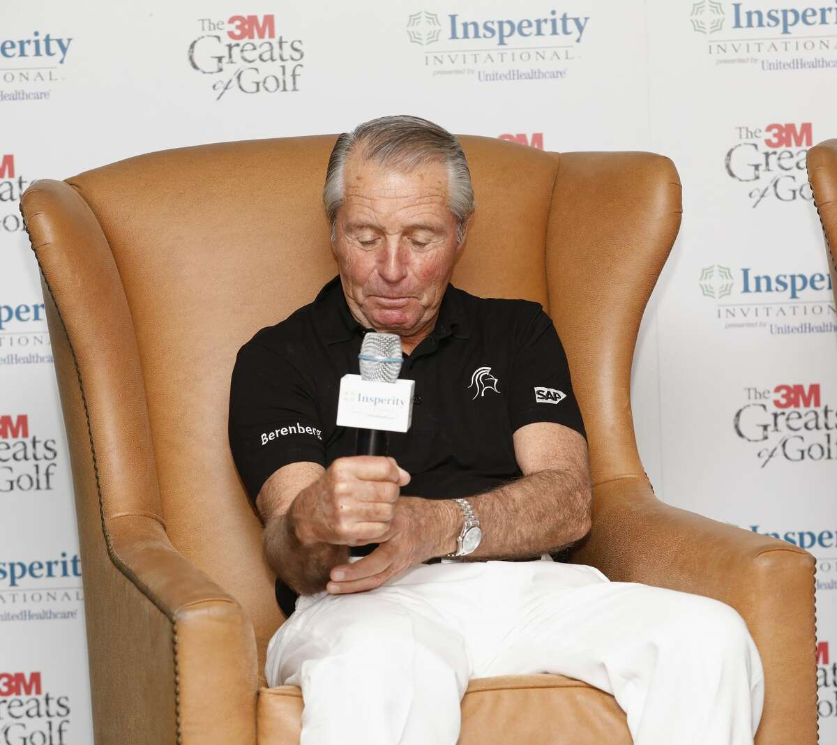 Gary Player is interviewed before the 3M Greats of Golf at the Woodlands Country Club Tournament Course on Saturday, May 6, 2017, in The Woodlands, TX.