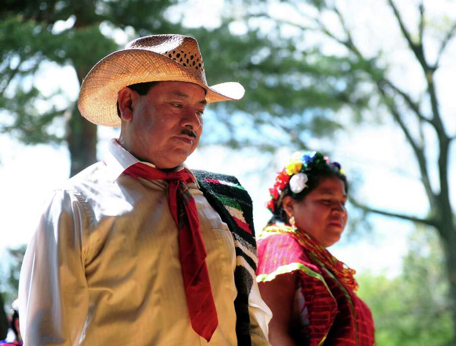 Members of Triquis Sin Fronteras perform dances at a Cinco de Mayo celebration at the Pruyn House in Colonie, N.Y. on May 6, 2017. (Robert Downen / Times Union) Photo: Robert Downen / 20040415A