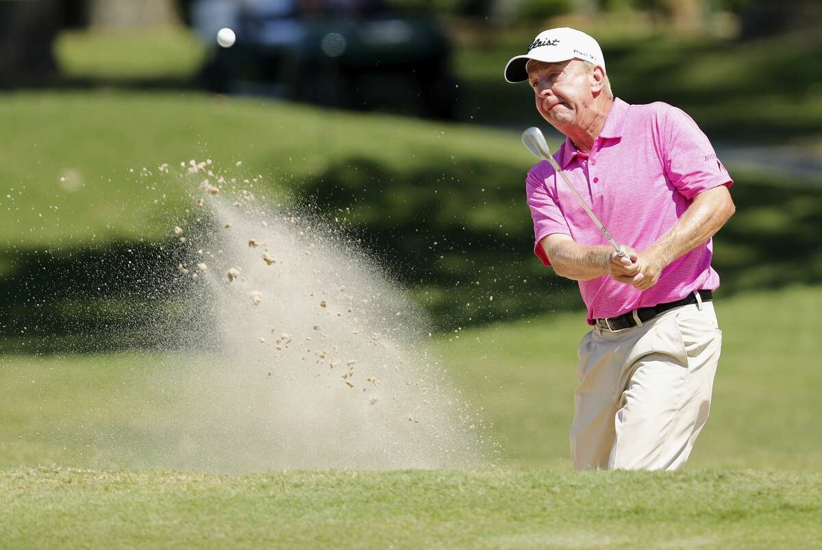 Billy Mayfair plays from a green side bunker on the 15th hole during the second round of the Insperity Invitational Golf Tournament at the Woodlands Country Club Tournament Course on Saturday, May 6, 2017, in The Woodlands, TX.