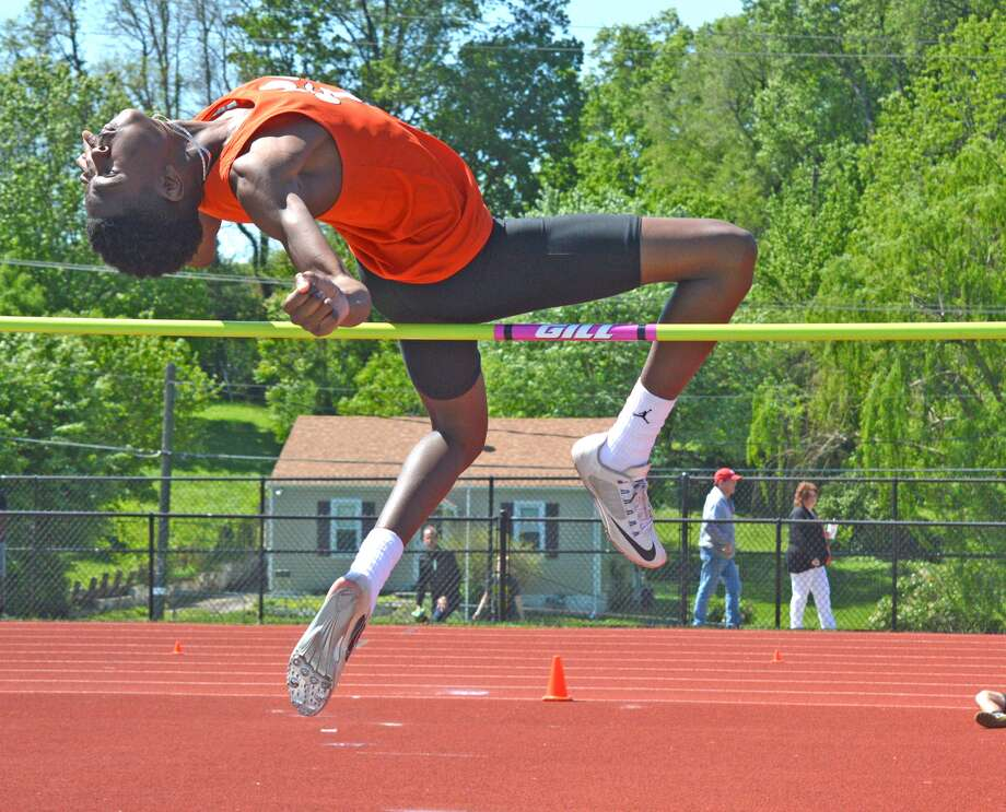 Edwardsville sophomore Lavontas Hairston competes in the high jump on Saturday during the Collinsville Invitational.