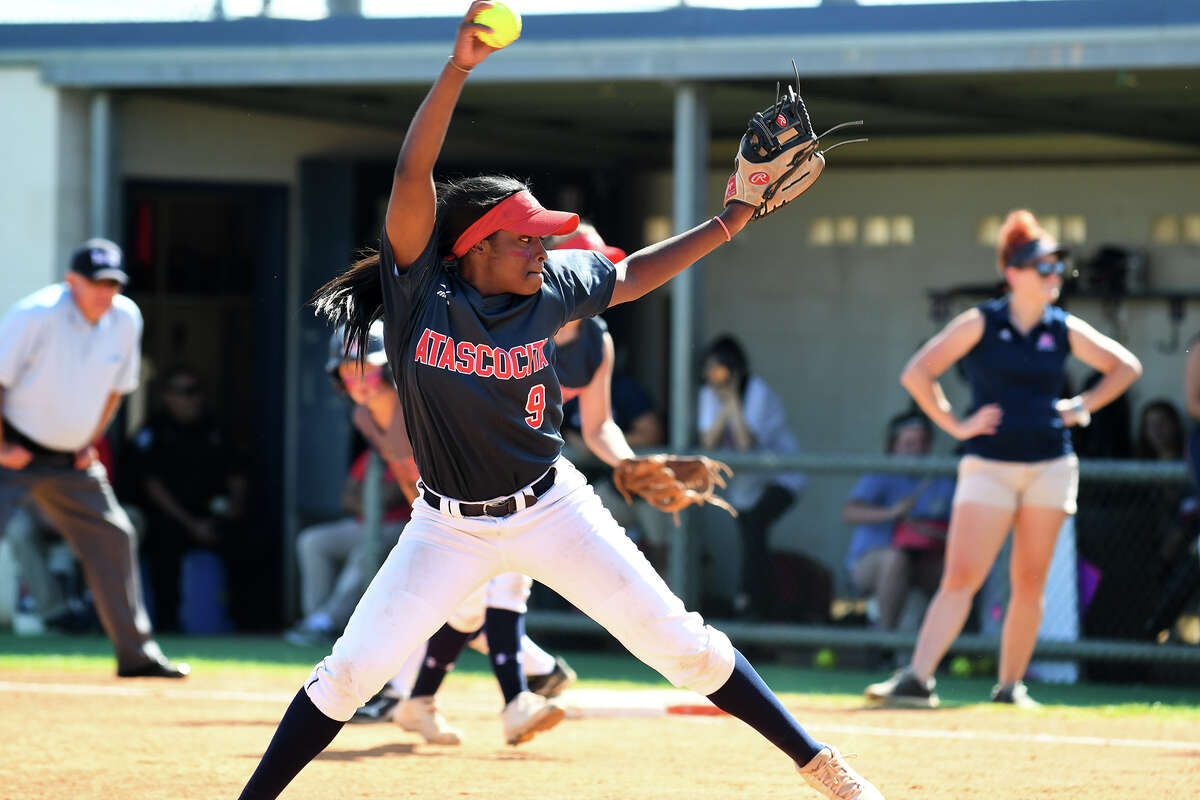 Atascocita senior pitcher Tierrah Williams works to a Pearland Dawson hitter in the bottom of the 5th inning of their Region III-6A Area Round Softball Playoff series at Pearland Dawson High School on Saturday, May 6, 2017. (Photo by Jerry Baker/Freelance)