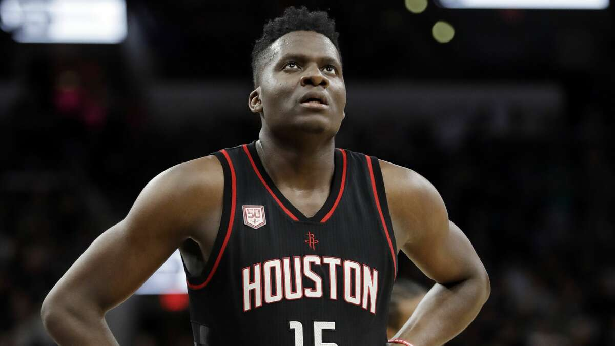 Houston Rockets' Clint Capela (15) takes a break during a time out from play during the second half of Game 2 in a second-round NBA basketball playoff series against the San Antonio Spurs on Wednesday, May 3, 2017, in San Antonio. (AP Photo/Eric Gay)