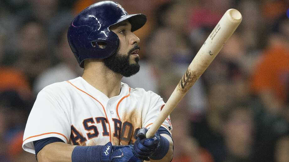 Marwin Gonzalez is out of the Astros' lineup Sunday due to a sore foot. Manager A.J. Hinch said he his hopeful Gonzalez could pinch hit. Photo: Bob Levey/Getty Images