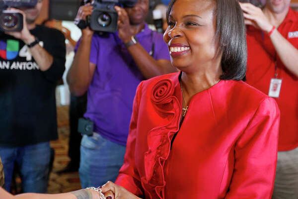 Mayor Ivy Taylor greets supporters at a watch party held Saturday May 6, 2017 at at the Wyndam Garden San Antonio Riverwalk Museum Reach Hotel.