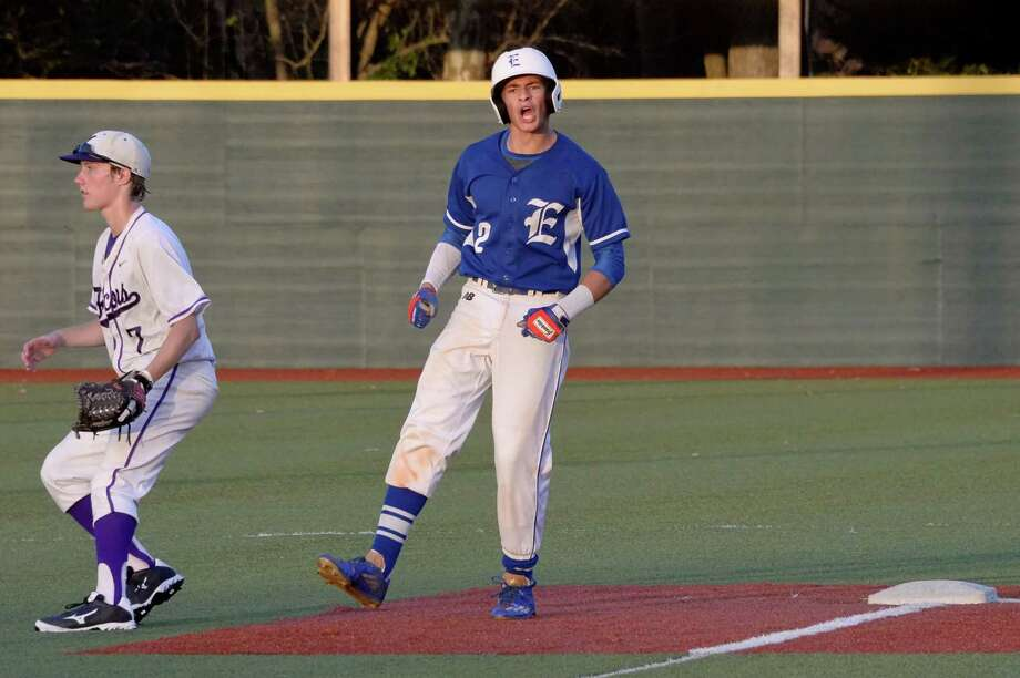 Trei Cruz (2) of Episcopal celebrates a lead-off double in the sixth inning of a varsity baseball game between the Episcopal Knights and the Kinkaid Falcons on Friday April 21, 2017 at Sanders Field, Houston, TX. Photo: Craig Moseley, Staff / ©2017 Houston Chronicle