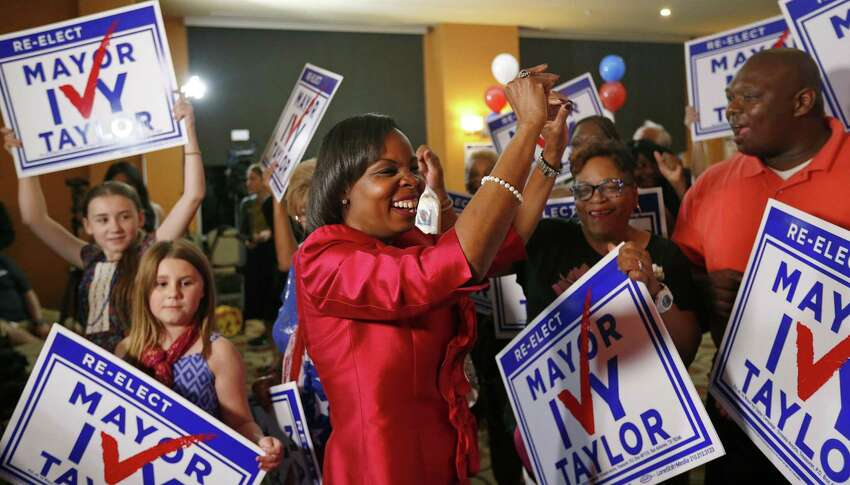 Mayor Ivy Taylor dances with supporters after being interviewed at a watch party held Saturday May 6, 2017 at at the Wyndam Garden San Antonio Riverwalk Museum Reach Hotel.
