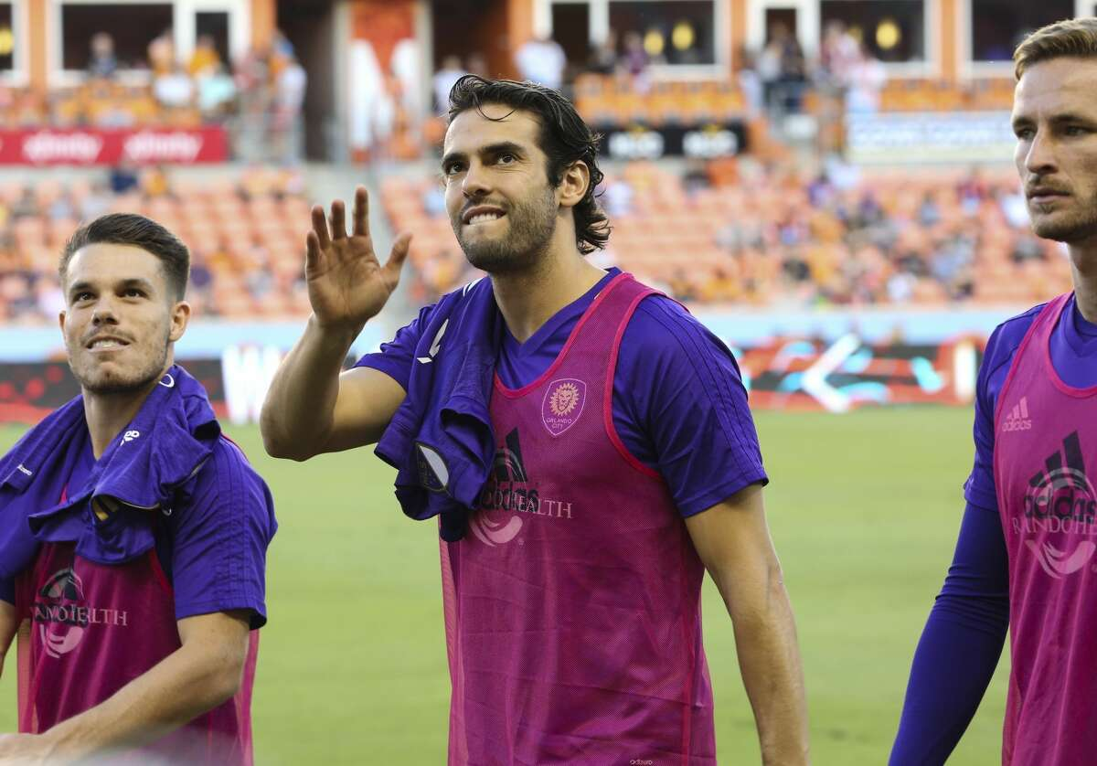 Orlando City SC midfielder Kaka (10) visited James Harden and the Rockets during their playoff game against the Spurs on Sunday night. The game came one day after Orlando City lost to the Dynamo, 4-0, at BBVA Compass Stadium.