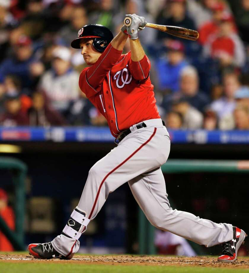 Washington Nationals Ryan Zimmerman (11) follows through on a two run home run on Philadelphia Phillies starting pitcher Vince Velasquez (28) in the fourth inning of a baseball game, Saturday, May 6, 2017, in Philadelphia. Daniel Murphy also scored. (AP Photo/Laurence Kesterson) ORG XMIT: PXS104 Photo: Laurence Kesterson / FR170723 AP