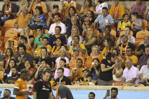 Houston Dynamo fans cheer for Houston Dynamo forward Romell Quioto (12) as he is leaving the field during the second half of the game at BBVA Compass Stadium Saturday, May 6, 2017, in Houston. ( Yi-Chin Lee / Houston Chronicle )