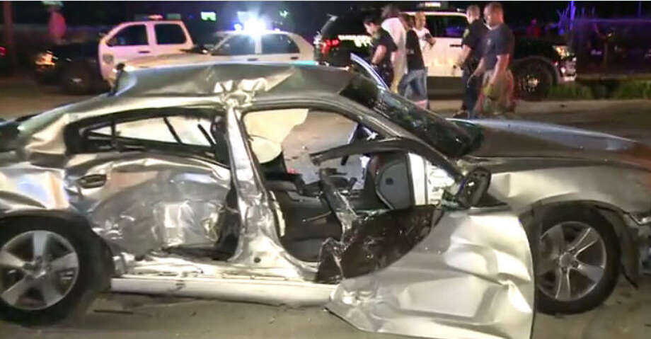 Two people were injured in a three-vehicle crash on Old Spanish Trail. Photo: Metro Video