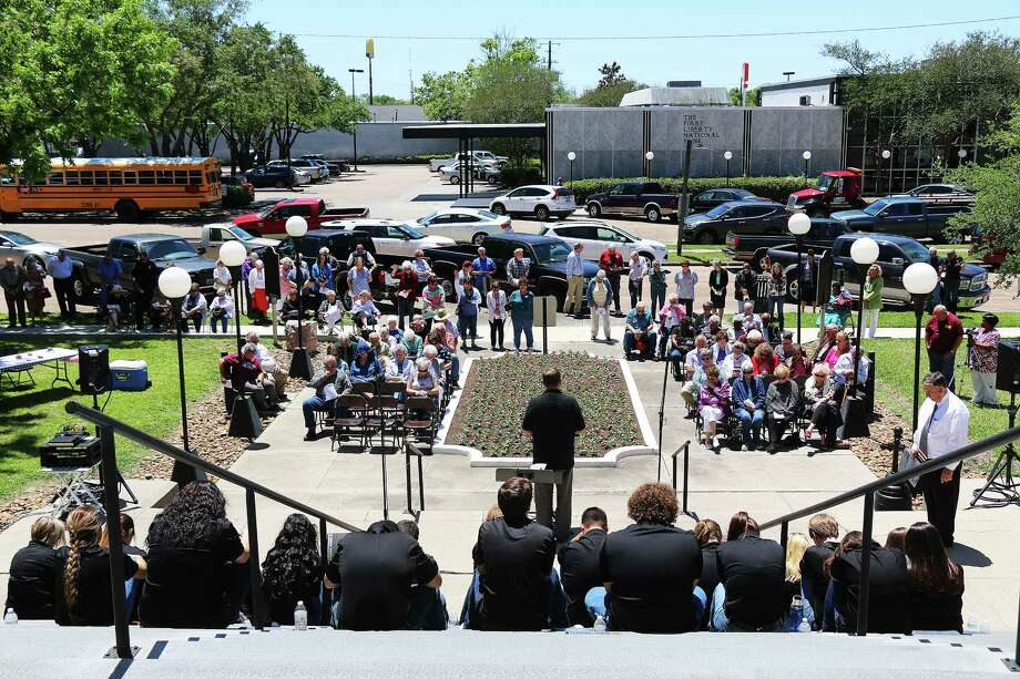More than 200 people came out to the National Day of Prayer event on the steps of the Liberty County Courthouse on Thursday at noon. Photo: David Taylor