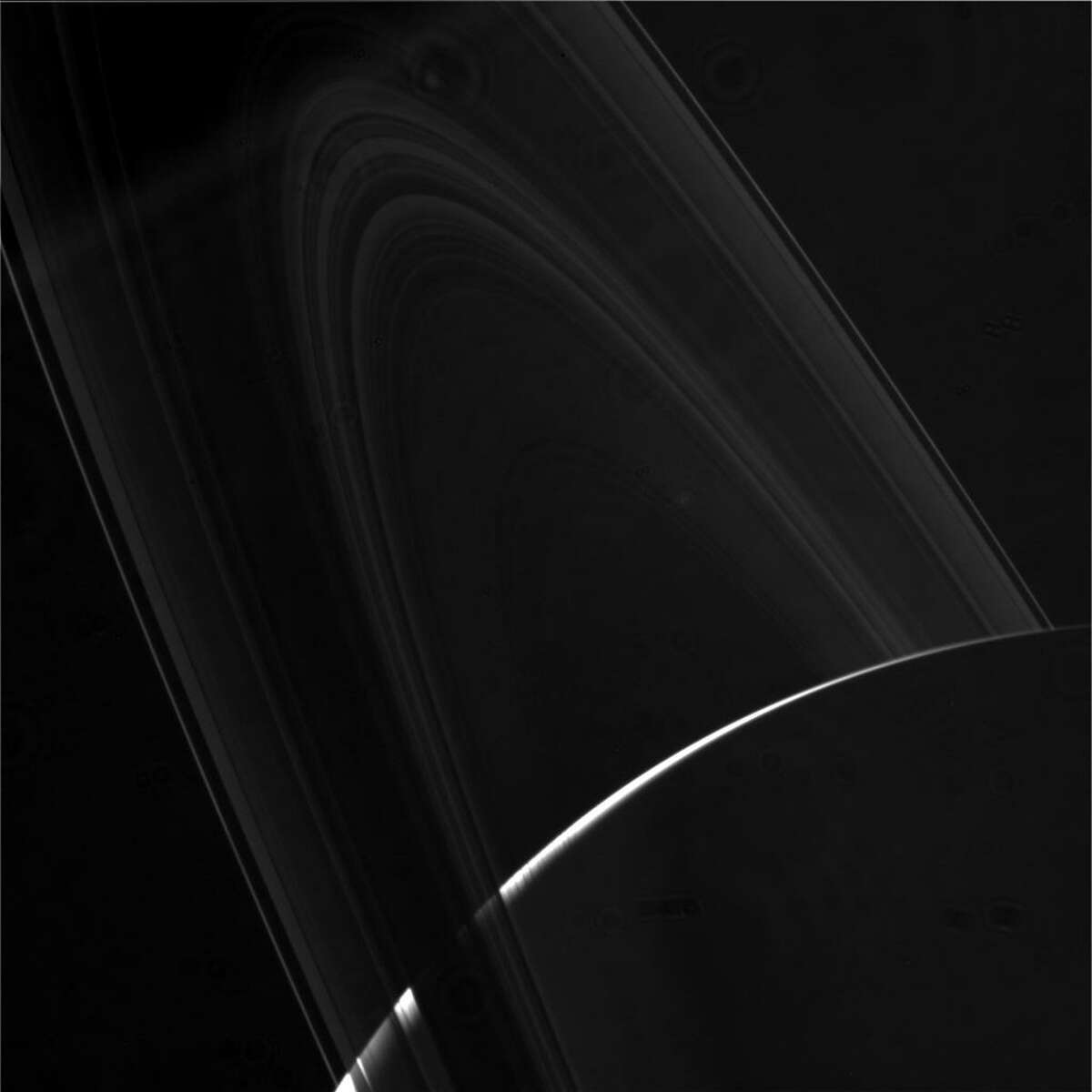 In this photo from Cassini's second dive through the gap between Saturn and its rings, the camera was pointing toward SATURN-RINGS, and the image was taken using the CL1 and CL2 filters. This image has not been validated or calibrated. A validated/calibrated image will be archived with the NASA Planetary Data System.
