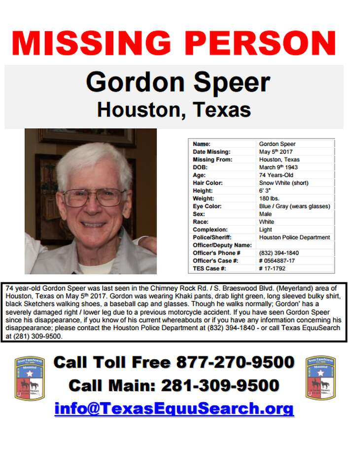 Gordon Speer, 74, was last seen in Meyerland.
