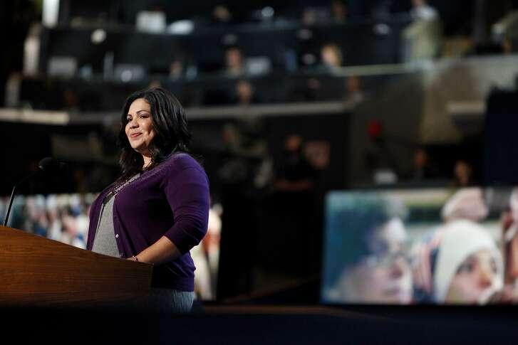 Benita Holguin, then known as Benita Veliz, speaks at the Democratic National Convention in Charlotte, N.C., in 2012.