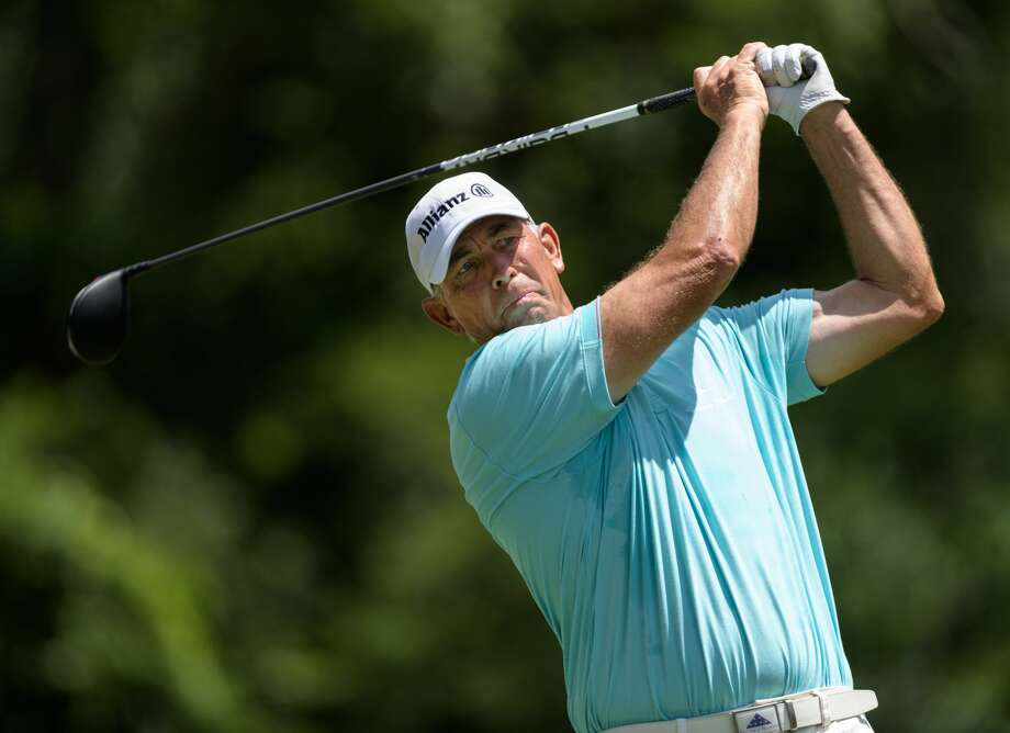 Tom Lehman teeing off from the 6th tee during the third round of the Insperity Invitational on Sunday, May 7, 2017 at The Woodlands Country Club Tournament Course in The Woodlands Texas. Photo: Wilf Thorne/For The Chronicle