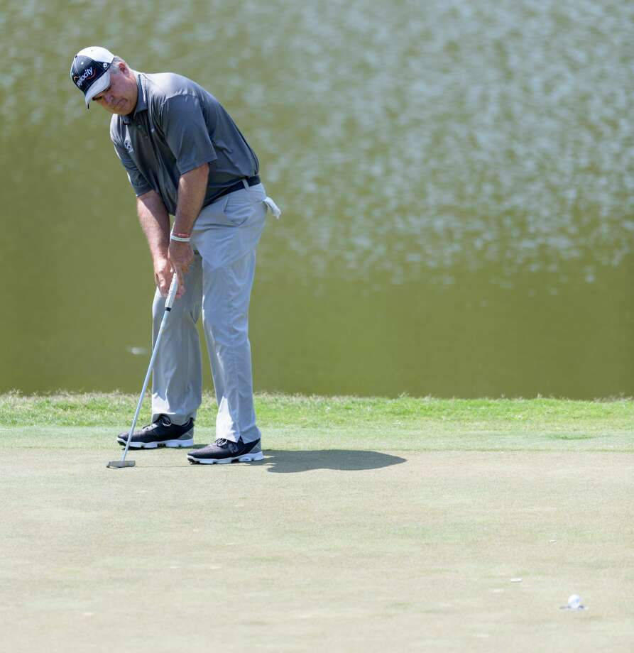 Kenny Perry sinks his putt on the 14th green during the third round of the Insperity Invitational on Sunday, May 7, 2017 at The Woodlands Country Club Tournament Course in The Woodlands Texas. Photo: Wilf Thorne/For The Chronicle