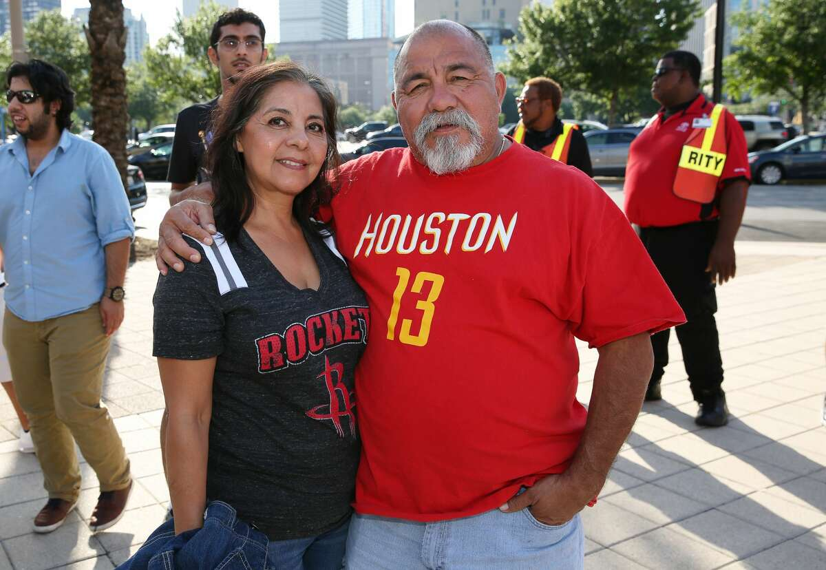 Houston Rockets fans pose for a photo before the Houston Rockets takes on San Antonio Spurs for the NBA Western Conference semifinals Game 4 Sunday, May 7, 2017, in Houston. ( Yi-Chin Lee / Houston Chronicle )