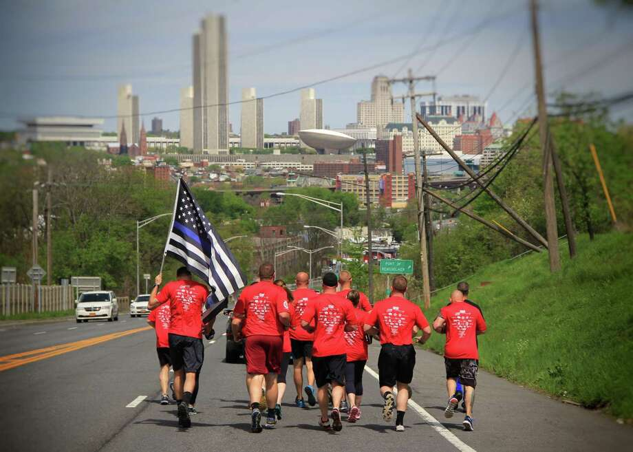 This group of runners for the 2017 Special Olympics Torch Run started at East Greenbush Police Department headquarters and headed west on Columbia Turnpike, over the Dunn Memorial Bridge and met additional runners at Albany City Hall. The group included members from East Greenbush police and surrounding Rensselaer County police agencies.