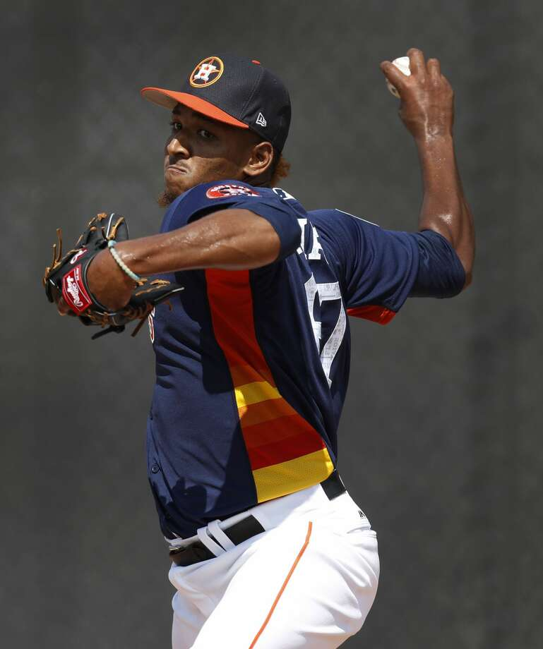 The Astros on Sunday released Edison Frias, a 26-year-old righthander and Class AAA starter who had been with the organization for six years. Photo: Karen Warren/Houston Chronicle