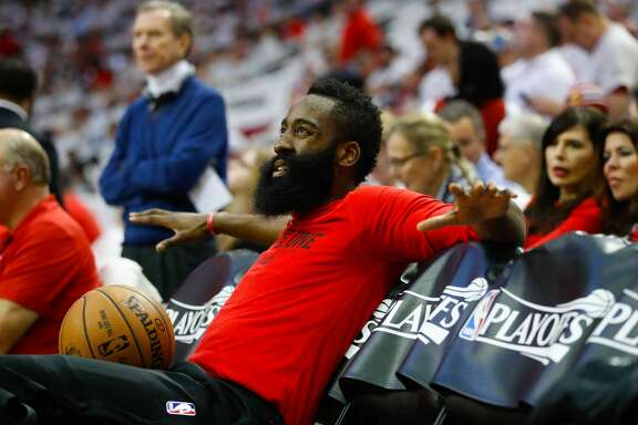 Houston Rockets guard James Harden (13) watches from the bench before the first half of Game 3 of the second round of the Western Conference NBA playoffs at the Toyota Center, Sunday, May 7, 2017, in Houston. ( Karen Warren / Houston Chronicle )