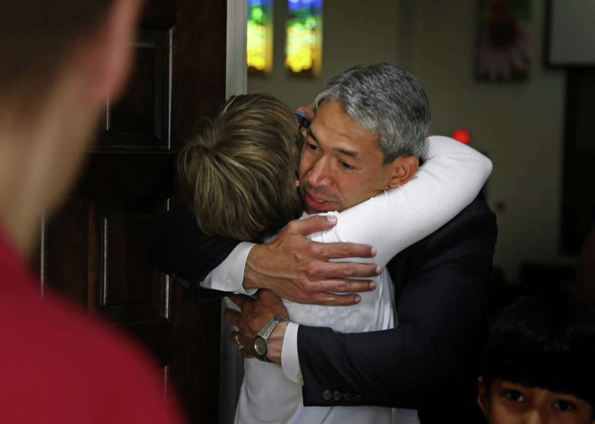 Ron Nirenberg is greeted by Rev. Diana Phillips, lead pastor at Colonial Hills United Methodist Church on Sunday, May 7, 2017.