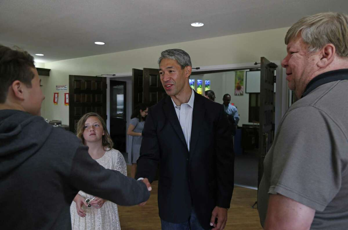 Ron Nirenberg is greeted by supporters at Colonial Hills United Methodist Church on Sunday, May 7, 2017.