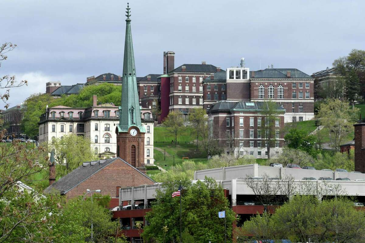 View of Troy and the Rensselaer Polytechnic Institute campus taken from a former industrial site on an island in the Hudson River between Troy at the south end of Green Island on Wednesday, May 3, 2017, in Green Island, N.Y. Environmental cleanup work is about to start for a proposed $60 million development on the Green Island property. (Will Waldron/Times Union)