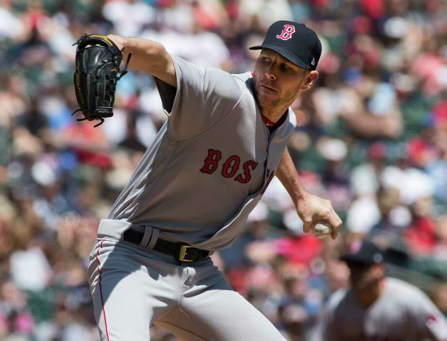 Boston Red Sox starting pitcher Chris Sale (41) throws during the first inning of a baseball game against the Minnesota Twins, Sunday, May 7, 2017, in Minneapolis. (AP Photo/Paul Battaglia) ORG XMIT: MNPB10X Photo: Paul Battaglia / FR1768 AP