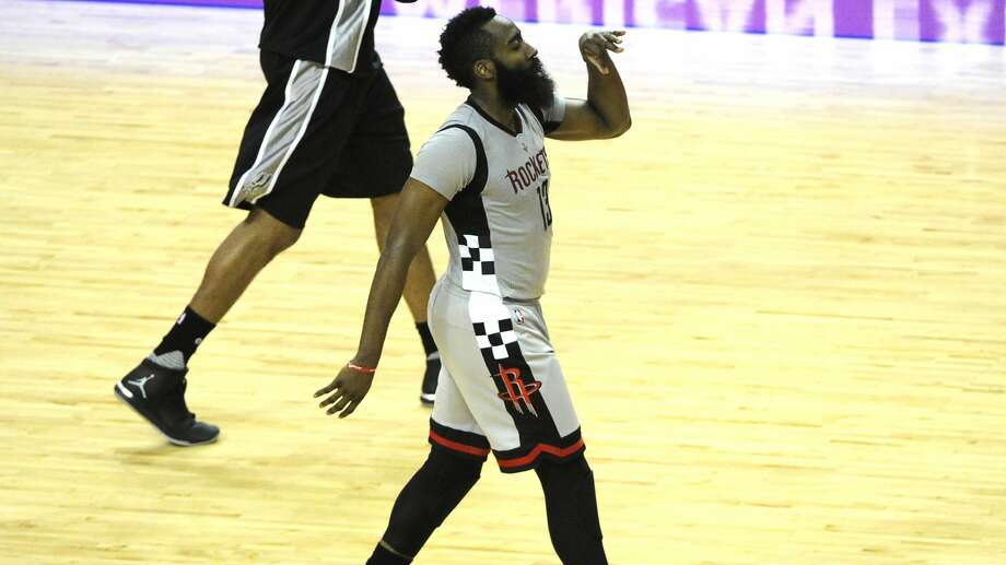 Houston Rockets guard James Harden (13) celebrates his three-pointer during the second half of the NBA Western Conference semifinals Game 4 Sunday, May 7, 2017, in Houston. ( Yi-Chin Lee / Houston Chronicle ) Photo: Yi-Chin Lee/Houston Chronicle