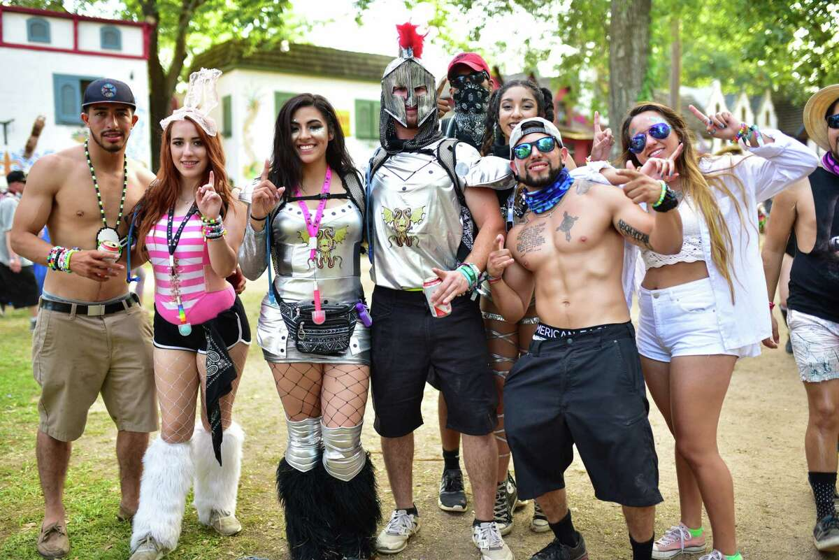 Attendees of The Middlelands at The TX Renaissance Festival Grounds in Todd Mission, TX on Sunday May 7, 2017