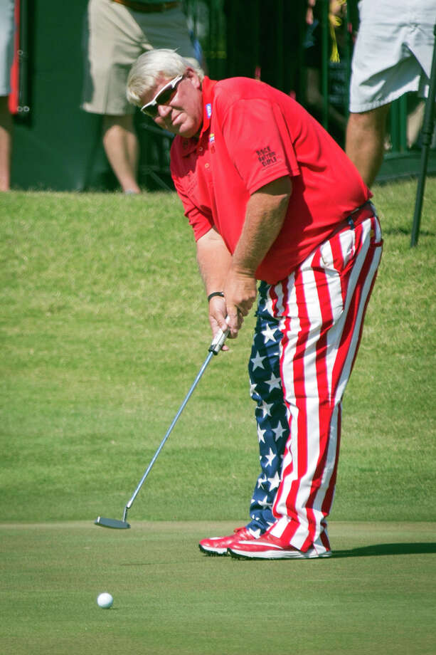 John Daly putts on hole 18 during the Insperity Invitational golf tournament on Sunday, May 7, 2017, in The Woodlands, Texas. (Michael Minasi/Chronicle)/Houston Chronicle via AP) ORG XMIT: TXHOU901 Photo: Michael Minasi / ' 2017 Houston Chronicle