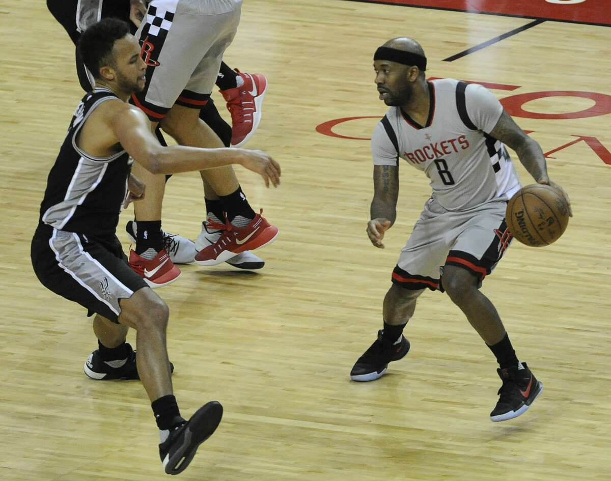 Houston Rockets guard Bobby Brown (8) dribbles toward the basket during the second half of the NBA Western Conference semifinals Game 4 Sunday, May 7, 2017, in Houston. ( Yi-Chin Lee / Houston Chronicle )