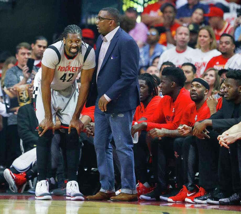 Rockets center Nene left Sunday's game with a groin injury. He will miss the rest of the season with a muscle tear. Photo: Karen Warren, Staff Photographer / 2017 Houston Chronicle