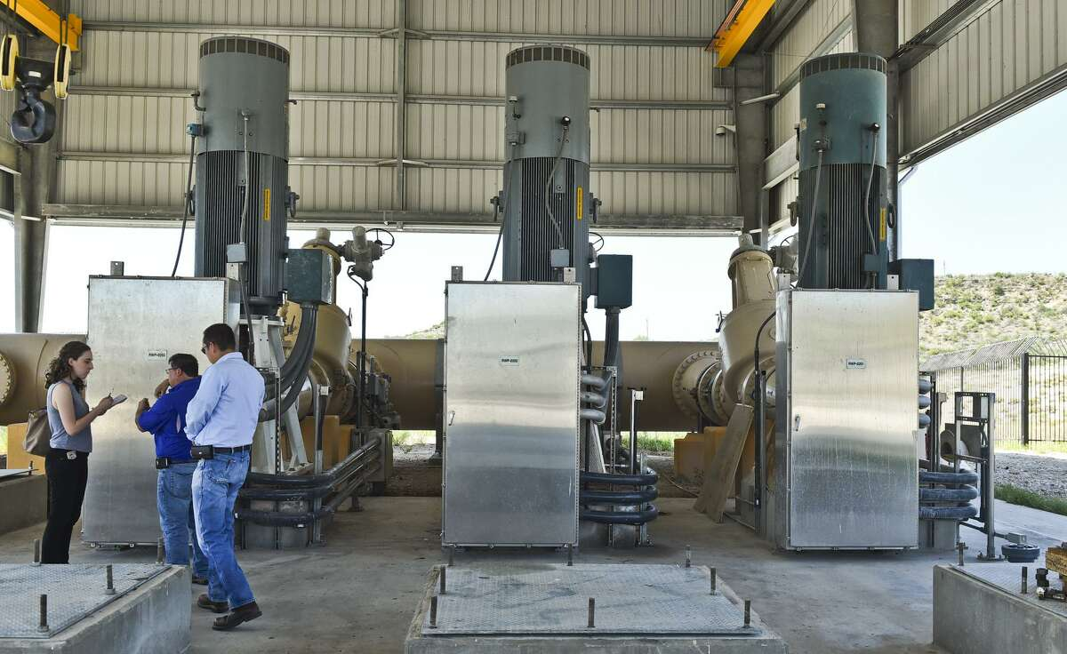 Shown are three water pumps that feed the raw water intake structure for the El Pico Water Treatment Plant on May 2.