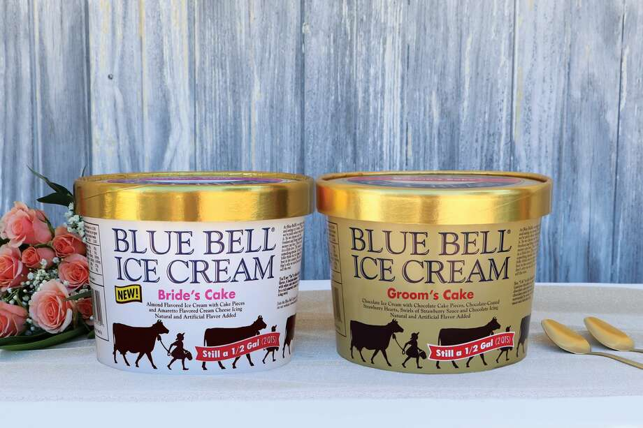 Keep going for a look the most Texas wedding traditions in the Lone Star State. Blue Bell Ice Cream has introduced a new Bride's Cake flavor to pair with their Groom's Cake ice cream, which was initially debuted in 2009. Photo: Bue Bell Ice Cream
