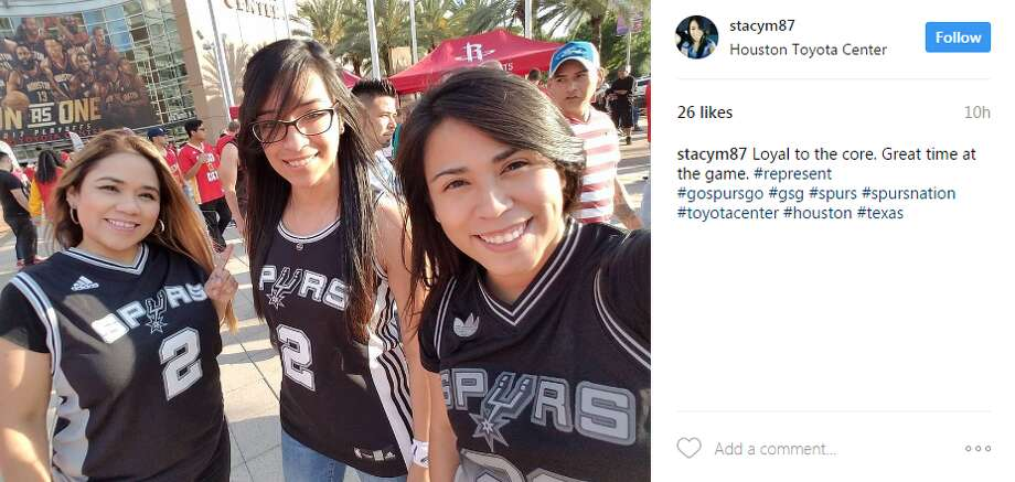 stacym87: Loyal to the core. Great time at the game. #represent#gospursgo #gsg #spurs #spursnation #toyotacenter #houston #texas Photo: Instagram.com