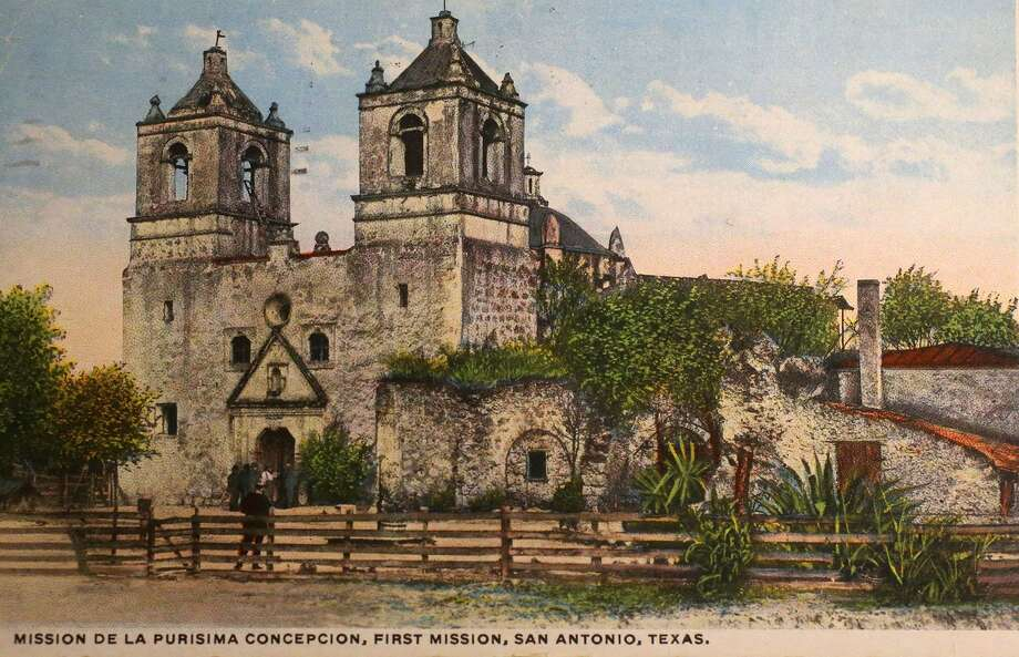 A historic postcard of Mission Concepcion. Photo: Courtesy UTSA Special Collections / ©San Antonio Express-News/John Davenport